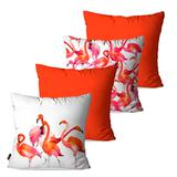 Kit com 4 Almofadas Decorativas Laranja Flamingos - Pump up