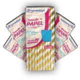 Kit com 5 pcts canudo papel listrado dourado com 20 un - Strawplast