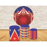 Kit Completo Trio Capa Cilíndrica  Painel de Tecido Redondo Circo - Fabrika de festa