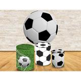 Kit Completo Trio Capa Cilíndrica  Painel De Tecido Redondo Futebol campo e bola - Fabrika de festa