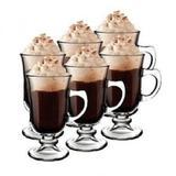 Kit conjunto 6 xicara de vidro taca cappucino cafe chocolate dolce gusto coffe irish pequena - Western