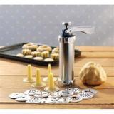 Kit Conjunto De Maquina De Biscoitos Decoração Bolacha E Cookies Em Aluminio Biscoiteira Com 20 Disc - Felimports
