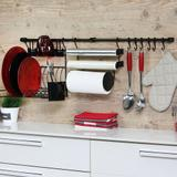 Kit Cozinha Escorredor Porta Papel Toalha/Alumínio/Filme Preto 6 Ganchos - KIT C - Metaltru