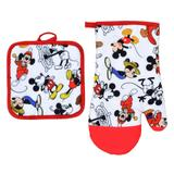 Kit Cozinha Luva e Descanso de Panela Color Mickey 90 Anos Disney