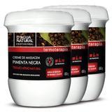 Kit Creme Massagem Pimenta Negra DAgua Natural 3 Unid. 650g Cada