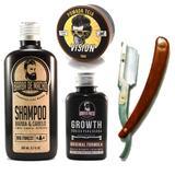 Kit Crescer Barba - Shampoo Tônico Pomada Navalha Aproveite - Barba de macho