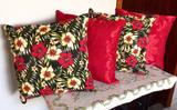 Kit de Almofadas Decorativas 4 Peças Tec Jacquard Vermelho 3 - Reluz bordados