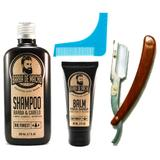 Kit de Barba Shampoo Balm Navalha e Alinhador de Barba - Barba de macho