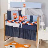 Kit de Berço Protetores Raposinha 11pçs Laranja e Azul Bebe Menino Com Saia de Berço - Doce lar enxovais