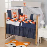 Kit de Berço Protetores Raposinha 11pçs Laranja e Azul Marinho Menino Com Saia de Berço - Doce lar enxovais