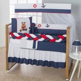 Kit de Berço Trança Urso Marinheiro Ancora 10pçs Azul Marinho Vermelho - Doce lar enxovais