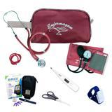 Kit de Enfermagem com Aparelho de pressão + Estetoscópio Duplo Vinho + Kit Medidor de Glicose G-tech - Premium