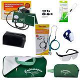 Kit de Enfermagem com Aparelho de Pressão Estetoscópio Premium Verde + Bolsa Necessaire e acessórios