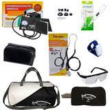 Kit de Enfermagem com bolsa e Necessaire Preta Estetoscópio e Esfigmo Preto - Premium