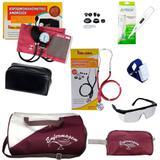 Kit de Enfermagem com bolsa e Necessaire Vinho Estetoscópio e Esfigmo Vinho - Premium