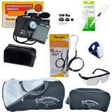 Kit de enfermagem com estetoscópio aparelho de pressão Premium grafite, óculos, garrote, termômetro e Bolsa