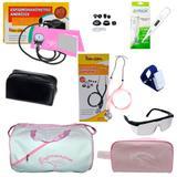 Kit de enfermagem com estetoscópio e aparelho de pressão rosa óculos garrote termômetro e Bolsa - Premium