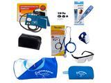 Kit de Enfermagem com Medidor de Pressão Estetoscópio Premium Azul + Bolsa Necessaire e acessórios