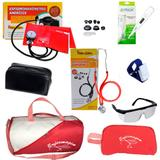 Kit de Enfermagem com Medidor de Pressão Estetoscópio Premium Vermelho + Bolsa Necessaire e acessórios