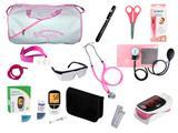 Kit de Enfermagem Super Luxo com Aparelho de Pressão Rosa Premium c/ Bolsa Branca