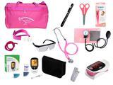 Kit de Enfermagem Super Luxo com Aparelho de Pressão Rosa Premium c/ Bolsa tipo 2