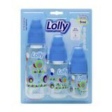Kit de Mamadeira Zoo 240ml, 150ml e 80ml com bico de silicone R para líquidos ralos, acompanhadas de tampa e rosca na co - Lolly (lolni)