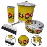 Kit de Pia Amarelo Cozinha Lixeira Detergente Sabão com Rodo - Alumínio extra forte