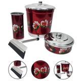 Kit de Pia Cozinha Lixeira Detergente Sabão Rodinho Vermelho - Alumínio extra forte
