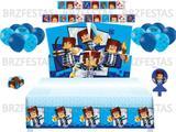 Kit Decoração de Festa Authentic Games * Painel + Toalha de Mesa + 25 Balões + Vela + 40 Forminhas p/ Doces + Faixa - Festcolor