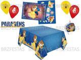Kit Decoração de Festa Bela e a Fera * Painel + Vela + Toalha + Display de Mesa + 25 Balões - Regina
