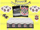 Kit Decoração de Festa Corinthians * Painel + Toalha de mesa + Faixa + 25 Balões + 40 Forminhas doces + Vela - Festcolor