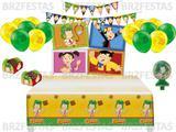 Kit Decoração de Festa do Chaves * Painel + Toalha de mesa + Faixa + 25 Balões + 40 Forminhas doces + Vela - Festcolor