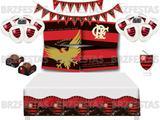 Kit Decoração de Festa Flamengo * Painel + Toalha de mesa + Faixa + 25 Balões + 40 Forminhas + Vela - Festcolor