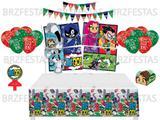 Kit Decoração de Festa Jovens Titãs * Painel + Toalha mesa + Faixa + 25 Balões + 40 Forminhas + Vela - Festcolor