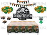 Kit Decoração de Festa Jurassic World * Painel + Toalha mesa + Faixa +  Balões + 40 Forminhas + Vela - Festcolor