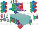 Kit Decoração de Festa PJ Masks * Painel + 25 Balões + Toalha de mesa + 06 Display de Mesa + Vela - Regina