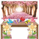 Kit decoração de festa totem 8pçs+painel - Jardim Encantado - Inove adesivos