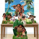Kit decoração de festa totem display - 7pçs+painel - Moana - Inove adesivos