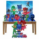 Kit decoração de festa totem display 7pçs+painel- PJ Mask - Inove adesivos