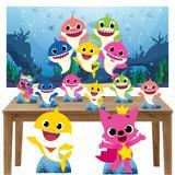 Kit decoração de festa totem display 8pçs+painel- Baby Shark - Inove adesivos