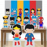 Kit decoração de festa totem display -8pçs+painel - Heróis - Inove adesivos