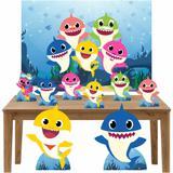 Kit Decoração de Festa Totem Display 9 peças Baby Shark - Inove adesivos