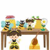 Kit decoração de festa totem e display 8pçs - Abelhinha 2 - Inove adesivos
