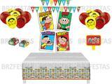 Kit Decoração de Festa Turma da Mônica * Painel + Toalha mesa + Faixa +  Balões + 40 Forminhas +Vela - Festcolor