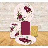 Kit Decoração Mini Table Flores e Arcos Dourados - Fabrika de festa