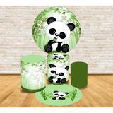 Kit Decoração Mini Table Panda Fundo Verde Bambu - Fabrika de festa