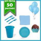 Kit Descartáveis Azul Claro 50 Pessoas - Festabox