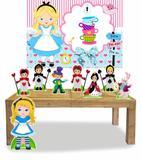 Kit Display Alice no País das Maravilhas Cute 8 Pçs + Painel - X4adesivos