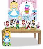 Kit Display Alice no País das Maravilhas Cute Com 8 Peças + Painel - X4adesivos