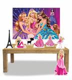 Kit Display Boneca Barbie Com 7 Peças + Painel - X4adesivos